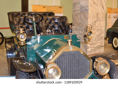 Warsaw, Poland - July 31, 2018: Vintage British car Humber Limited (year 1908). Technical museum in the Palace of Culture and Science.