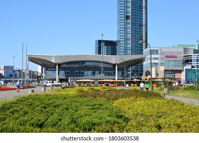 Warsaw, Poland - July 31 2020: view of the Warszawa Centralna railway station building. Central Railway Station in Warsaw at Emilii Plater street. Summer sunny day