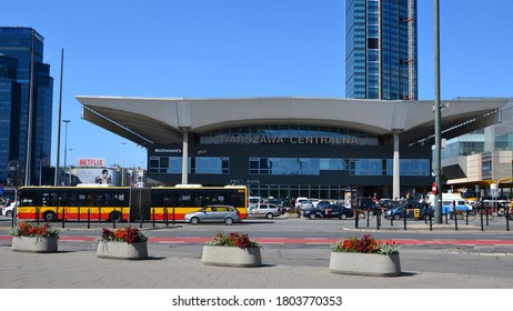 Warsaw, Poland - July 31 2020: view of the Warszawa Centralna railway station building. Central Railway Station in Warsaw at Emilii Plater street. Summer sunny day, panoramic view