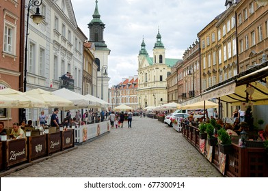 WARSAW, POLAND - JULY 8, 2017: Historic buildings in old town of Warsaw, Masovian, Poland, Europe