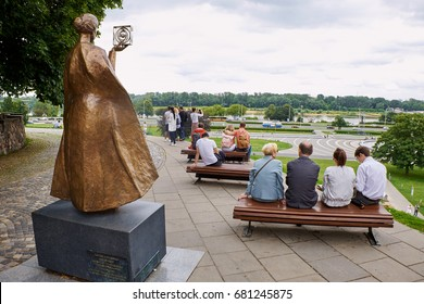 WARSAW, POLAND - JULY 8, 2017: Statue of Marie Sklodowska-Curie by Bronislaw Krzysztof holding a model of Polonium in Warsaw, Poland