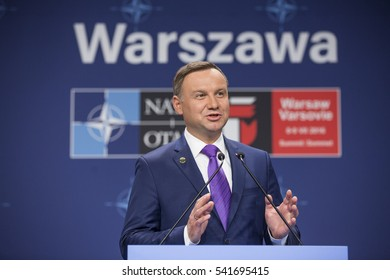Warsaw, Poland - July 9, 2016 : President of Poland Andrzej Duda speaks at the NATO summit in Warsaw.