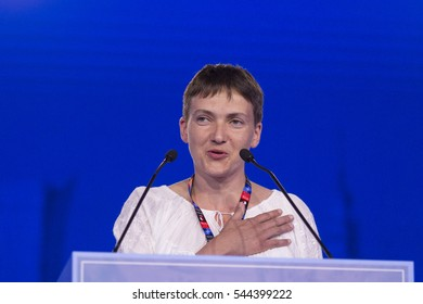 Warsaw, Poland - July 9, 2016 : Ukrainian politician and former Army aviation pilot Nadiya Savchenko speaks at the Warsaw Summit Experts' Forum - NATO in Defence of Peace