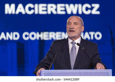 Warsaw, Poland - July 9, 2016 : Minister of National Defence for Poland Antoni Macierewicz speaks at the Warsaw Summit Experts' Forum - NATO in Defence of Peace