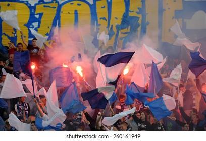 WARSAW, POLAND - JUNE 01, 2014: Ruch Chorzow Football Fans
