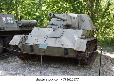 WARSAW, POLAND - JUNE 03, 2017: Soviet lightweight self-propelled gun SU-76. Museum of military technic in Czerniakow fort.