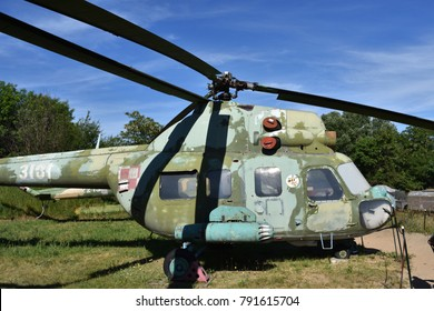 WARSAW, POLAND - JUNE 03, 2017: Vintage soviet milatary lightly armored turbine-powered transport helicopter Mil Mi-2 (NATO reporting name Hoplite). Museum of military technic in Czerniakow fort.