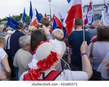 WARSAW, POLAND - JUNE 04, 2016: March ??All For Freedom?� organized by Polish Committee for the Defense of Democracy (KOD). 27th anniversary of the first democratic elections in Poland in 1989.