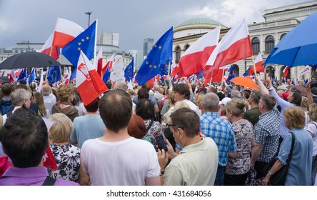 WARSAW, POLAND - JUNE 04, 2016: March All For Freedom?� organized by Polish Committee for the Defense of Democracy (KOD). 27th anniversary of the first democratic elections in Poland in 1989.