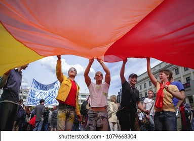 Warsaw, Poland - June 10, 2006: Participants of second large Equality Parade - LGBT community pride parade in Warsaw city