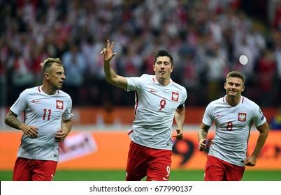 WARSAW, POLAND - JUNE 10, 2017: 2018 World Cup Qualificationso/p Robert Lewandowski of Poland celebrates his goal