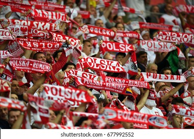 WARSAW, POLAND - JUNE 10, 2017: 2018 World Cup Qualificationso/p polish supporters