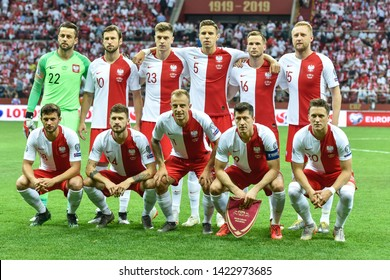 WARSAW, POLAND - JUNE 10, 2019: Qualifications Euro 2020  match Poland - Israel 4:0. Team of Poland.
