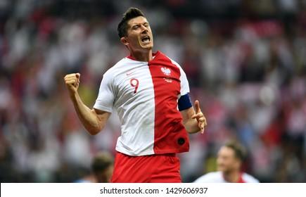 Warsaw, Poland, June 10, 2019: EURO 2020 qualifing round, group stage, Poland wins 4:0 with Izarel on PGE Narodowy. Robert Lewandowski (Poland) celebrates his goal