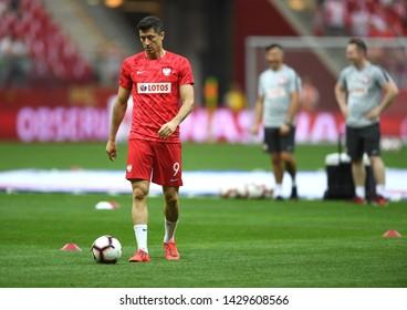 Warsaw, Poland, June 10, 2019: EURO 2020 qualifing round, group stage, Poland wins 4:0 with Izarel on PGE Narodowy. Robert Lewandowski (Poland)