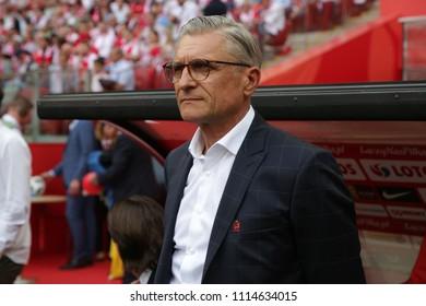 WARSAW, POLAND - JUNE 12, 2018: Friendly football game: Poland - Lithuania o/p Adam Nawalka