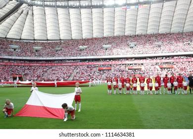 WARSAW, POLAND - JUNE 12, 2018: Friendly football game: Poland - Lithuania o/p Polish team