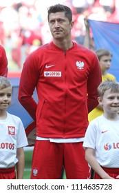 WARSAW, POLAND - JUNE 12, 2018: Friendly football game: Poland - Lithuania o/p Robert Lewandowski