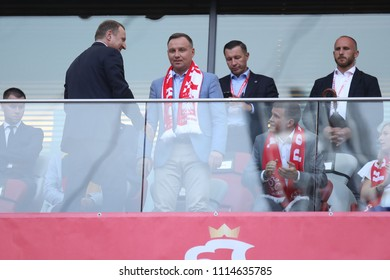 WARSAW, POLAND - JUNE 12, 2018: Friendly football game: Poland - Lithuania o/p Jacek Kurski, Andrzej Duda