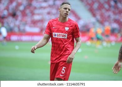 WARSAW, POLAND - JUNE 12, 2018: Friendly football game: Poland - Lithuania o/p Jan Bednarek