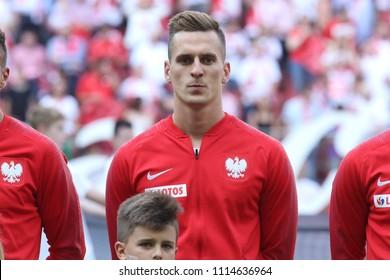 WARSAW, POLAND - JUNE 12, 2018: Friendly football game: Poland - Lithuania o/p Arkadiusz Milik