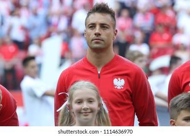 WARSAW, POLAND - JUNE 12, 2018: Friendly football game: Poland - Lithuania o/p Thiago Cionek