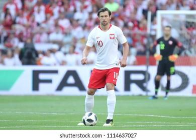 WARSAW, POLAND - JUNE 12, 2018: Friendly football game: Poland - Lithuania o/p Grzegorz Krychowiak