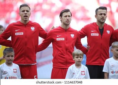 WARSAW, POLAND - JUNE 12, 2018: Friendly football game: Poland - Lithuania o/p Jan Bednarek, Grzegorz Krychowiak, Lukasz Fabianski