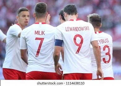 WARSAW, POLAND - JUNE 12, 2018: Friendly football game: Poland - Lithuania o/p Robert Lewandowski, Arkadiusz Milik