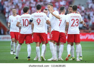 WARSAW, POLAND - JUNE 12, 2018: Friendly football game: Poland - Lithuania o/p Robert Lewandowski, Dawid Kownacki, Grzegorz Krychowiak, Thiago Cionek, Jan Bednarek