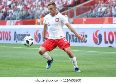 WARSAW, POLAND - JUNE 12, 2018: Friendly football game: Poland - Lithuania o/p Maciej Rybus
