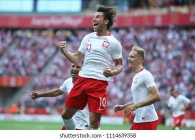 WARSAW, POLAND - JUNE 12, 2018: Friendly football game: Poland - Lithuania o/p Grzegorz Krychowiak, Lukasz Teodorczyk