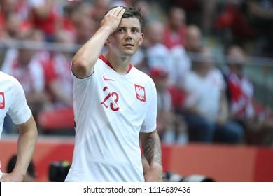 WARSAW, POLAND - JUNE 12, 2018: Friendly football game: Poland - Lithuania o/p Dawid Kownacki