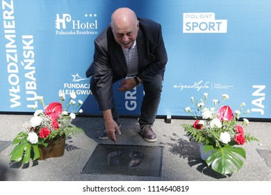 WARSAW, POLAND - JUNE 12, 2018: Friendly football game: Poland - Lithuania, before the game: Polish football hall of fame - opening ceremony o/p Grzegorz Lato