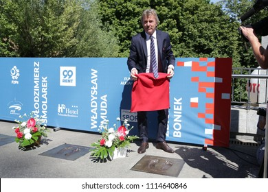 WARSAW, POLAND - JUNE 12, 2018: Friendly football game: Poland - Lithuania, before the game: Polish football hall of fame - opening ceremony o/p Zbigniew Boniek