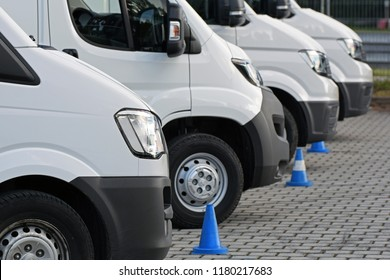 Warsaw, Poland - June, 12, 2018: Light commercial vehicles in a row on the parking.