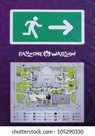 WARSAW, POLAND - JUNE 16: Evacuation plan handed to crowds before opening gates to Fanzone before it gets packed for UEFA EURO 2012 football match vs. Czech team, June 16, 2012 in Warsaw, Poland