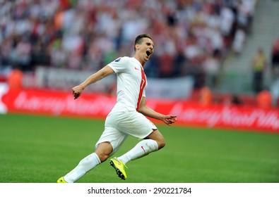 WARSAW, POLAND - JUNE 17, 2015: EURO 2016 EURO France Football Cup Qualifiers Scotland vs Georgiao/p Arkadiusz Milik