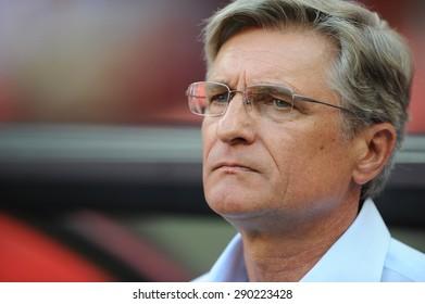 WARSAW, POLAND - JUNE 17, 2015: EURO 2016 EURO France Football Cup Qualifiers Scotland vs Georgiao/p Adam Nawalka Poland coach