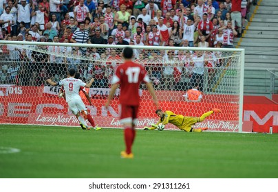 WARSAW, POLAND - JUNE 17, 2015: EURO 2016 EURO France Football Cup Qualifiers Scotland vs Georgia o/p Robert Lewandowski, Giorgi Loria
