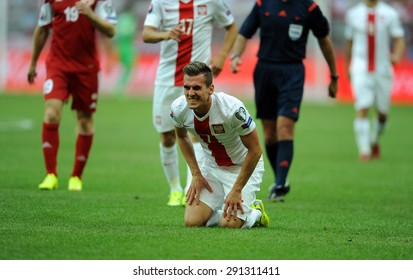 WARSAW, POLAND - JUNE 17, 2015: EURO 2016 EURO France Football Cup Qualifiers Scotland vs Georgia o/p Arkadiusz Milik
