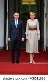 WARSAW, POLAND - JUNE 17, 2017: The Duke and Duchess of Cambridge visit in Polando/p Andrzej Duda, Agata Kornhauser-Duda