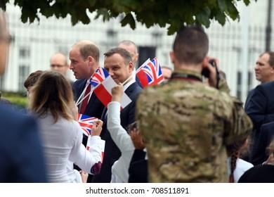 WARSAW, POLAND - JUNE 17, 2017: The Duke and Duchess of Cambridge visit in Polando/p Andrzej Duda, Wilhelm William prince of Cambridge