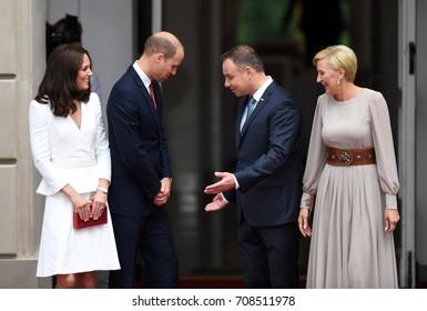 WARSAW, POLAND - JUNE 17, 2017: The Duke and Duchess of Cambridge visit in Polando/p Andrzej Duda, Agata Kornhauser-Duda, Wilhelm William prince of Cambridge, Kate Middleton