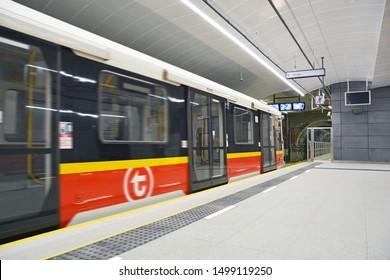 WARSAW, POLAND - JUNE 18, 2019 - Siemens Inspiro metro train at the brand new Targowek Mieszkaniowy station of Warsaw Metro