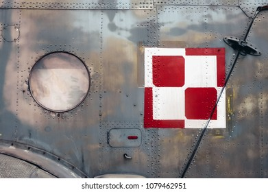 Warsaw, Poland - June 19, 2006: Polish Air Force checkerboard on a Mil Mi-8 medium twin-turbine helicopter at open air exhibition in front of Museum of the Polish Army in Warsaw