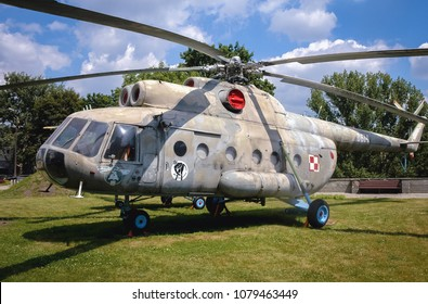 Warsaw, Poland - June 19, 2006: Mil Mi-8 medium twin-turbine helicopter at open air exhibition in front of Museum of the Polish Army in Warsaw, capital of Poland