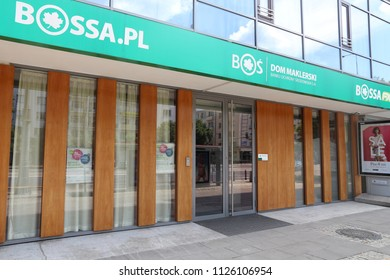WARSAW, POLAND - JUNE 19, 2016: Bossa stock exchange brokerage firm in Warsaw, Poland. It is part of Bank Ochrony Srodowiska, major Polish banking group.