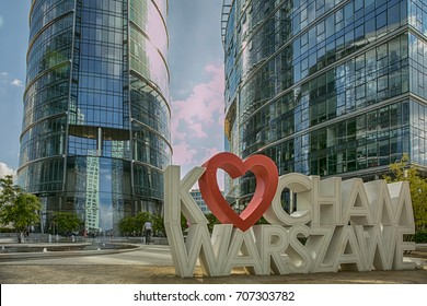 Warsaw, Poland - June 19, 2017: New, glass skyscrapers in Warsaw. Love the Warsaw.