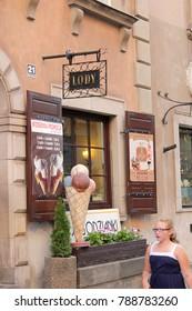 Warsaw, Poland - JUNE 2014: Old town, ice-cream shop Warsaw, Poland